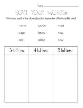 First Grade Sight Words and Phonics Spelling Practice {Set 3}
