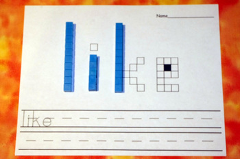 First Grade Literacy Centers with Base Ten Blocks {41 words!}