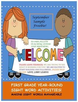 First Grade Sight Words/Year Round Management