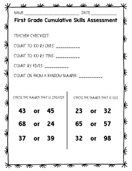 First Grade Math Skills Assessment