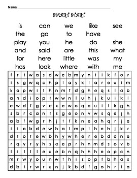 First Grade SmartStart Word Search