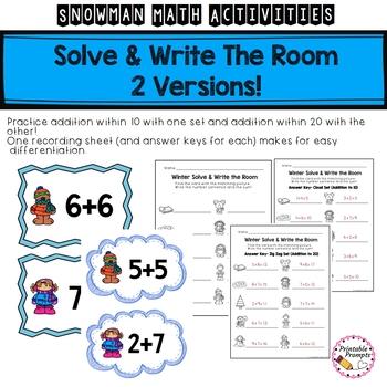 First Grade Snowman Addition and Math