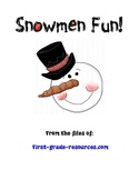 First Grade Snowmen Reading and Math Games