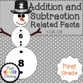 Grade 1 - Addition and Subtraction Snowmen Related Facts