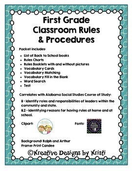 First Grade Social Studies: Back to School Rules