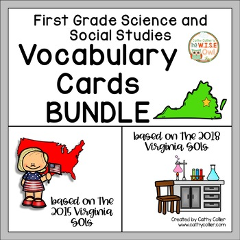 First Grade Science Social and Studies/History Vocabulary: Virginia SOLs BUNDLE