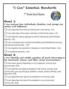 First Grade Social Studies I CAN statements