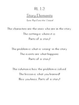 First Grade Songs and Graphic Organizers for CCSS Literature Standards