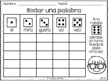 First Grade Spanish High Frequency Words - Rodar una palabra - Primer grado