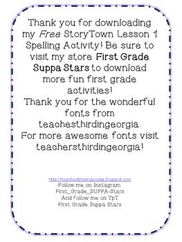 First Grade Spelling Acitvity