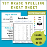 1st Grade Spelling Cheat Sheet (Printable Reference for 1s