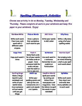 Spelling Homework Activity Chart