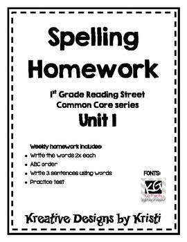 First Grade Spelling Homework Unit 1