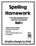 First Grade Spelling Homework Unit 1