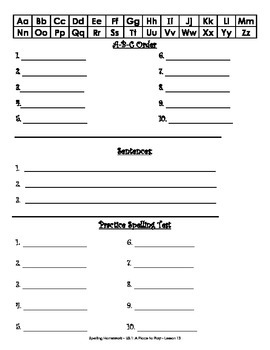 First Grade Spelling Homework Unit 3