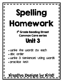 First Grade Spelling Homework Unit 3
