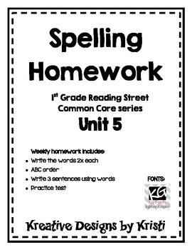 First Grade Spelling Homework Unit 5