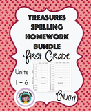 Treasures Spelling Homework Units 1-6 First Grade