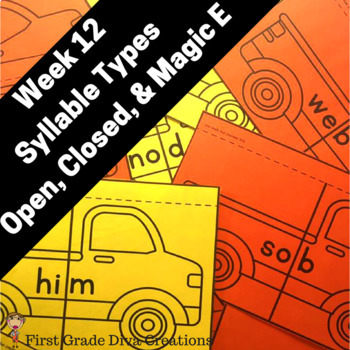 First Grade Spelling Week 12~Magic E, Open, and Closed Syllables