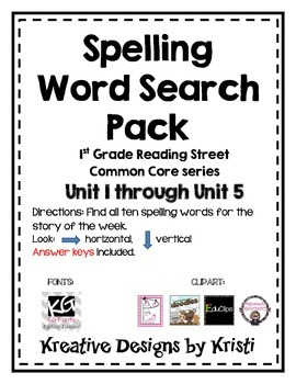 First Grade Spelling Word Search Pack