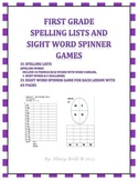 First Grade Spelling and Sight Word Spinners for the Entire Year