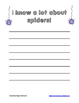 First Grade Spider reasearch writing