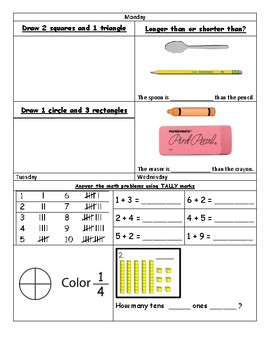 First Grade Spiraled Homework Sample