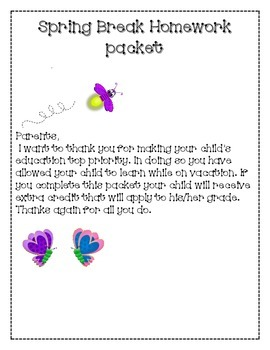 First Grade Spring Break Packet-Mini