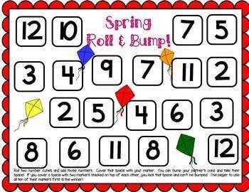 First Grade Spring Math Center Games