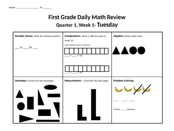 First Grade Standards Based Math Morning Work (Including CUBES)