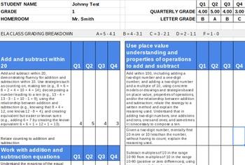 1st Grade Standards Based Math Report Card