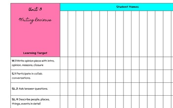 First Grade Standards Checklist Writing Workshop Units of Study