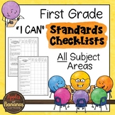 """First Grade Standards Checklists for All Subjects  - """"I Can"""""""