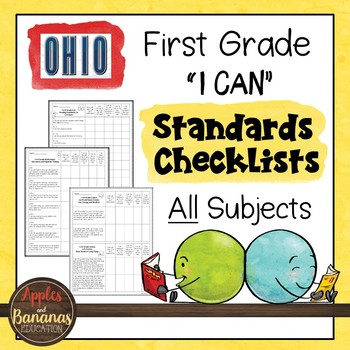 "Ohio - First Grade Standards Checklists for All Subjects  - ""I Can"""