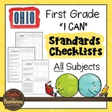 """Ohio - First Grade Standards Checklists for All Subjects  - """"I Can"""""""