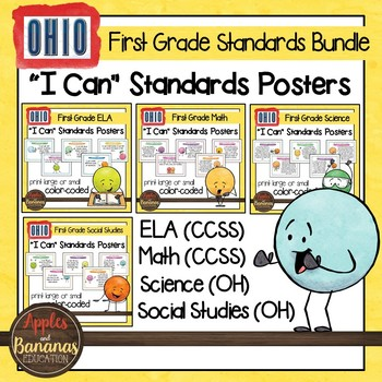 """Ohio Standards for First Grade - All Subjects """"I Can"""" Posters & Statement Cards"""