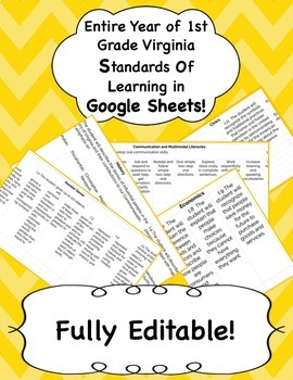 First Grade Standards of Learning (SOL) Gradebook for the Entire Year