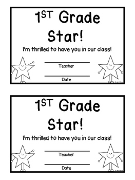 First Grade Star Welcome Certificate - Back to School