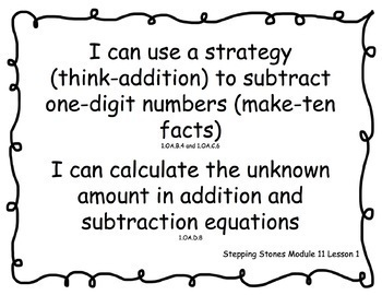 """First Grade Stepping Stones 2.0 Modules 1-12 Learning Targets """"I Can.."""""""
