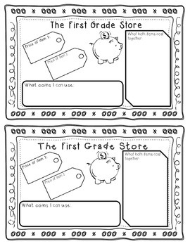 First Grade Store- Coin Game or Journal