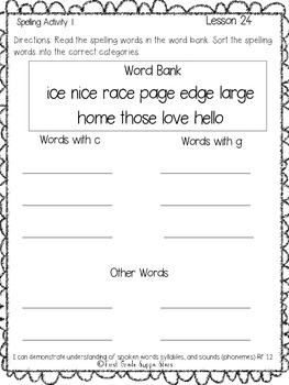 First Grade StoryTown Theme 5 Lesson 24 Spelling Activity Packet