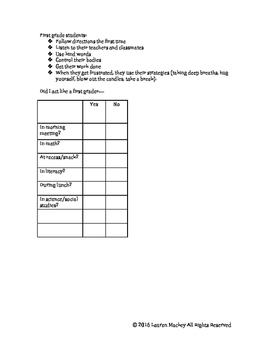First Grade Student Behavior Checklist