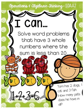 First Grade Student I Can Statements and Anchor Charts - Math