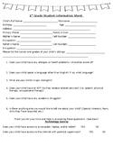 First Grade Student Information Survey