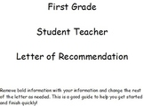 First Grade - Student Teacher Letter of Recommendation