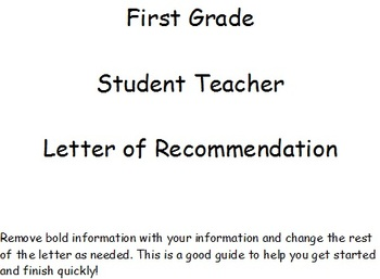 first grade student teacher letter of recommendation