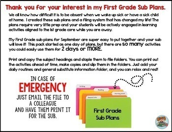 First Grade Sub Plans for the School Year [BUNDLE]