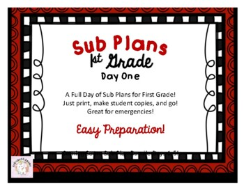 First Grade Sub Plans - Day One