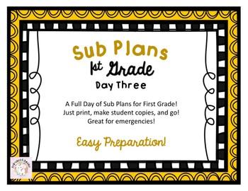 First Grade Sub Plans - Day Three