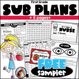 First Grade Sub Plans Emergency Sub Plans Free Sampler